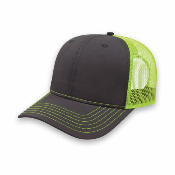 Charcoal/Neon Yellow Modified Flat Bill with Mesh Back Cap